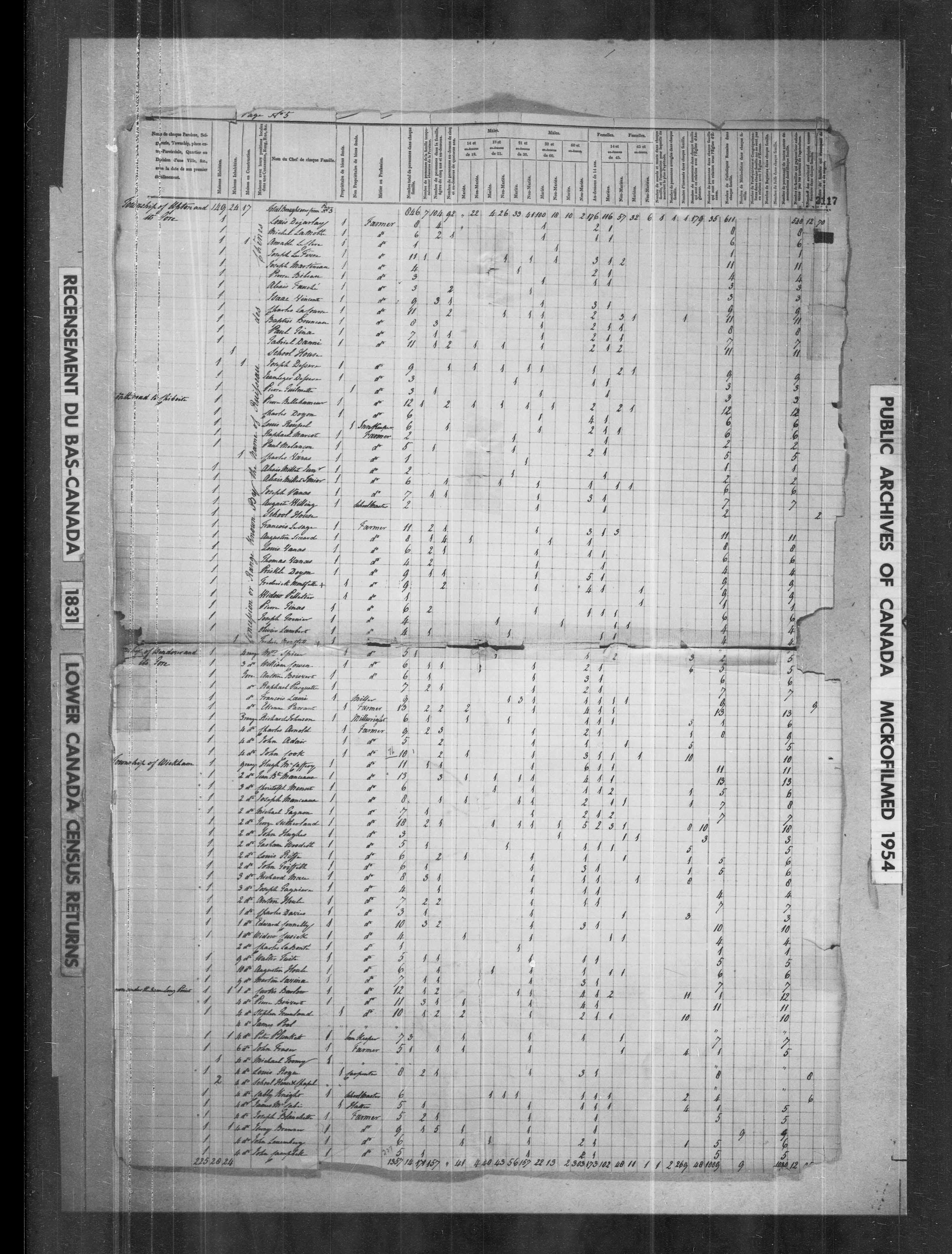 Page numérisée du Recensement du Bas-Canada (1831) pour l'image numéro 004569575_00363