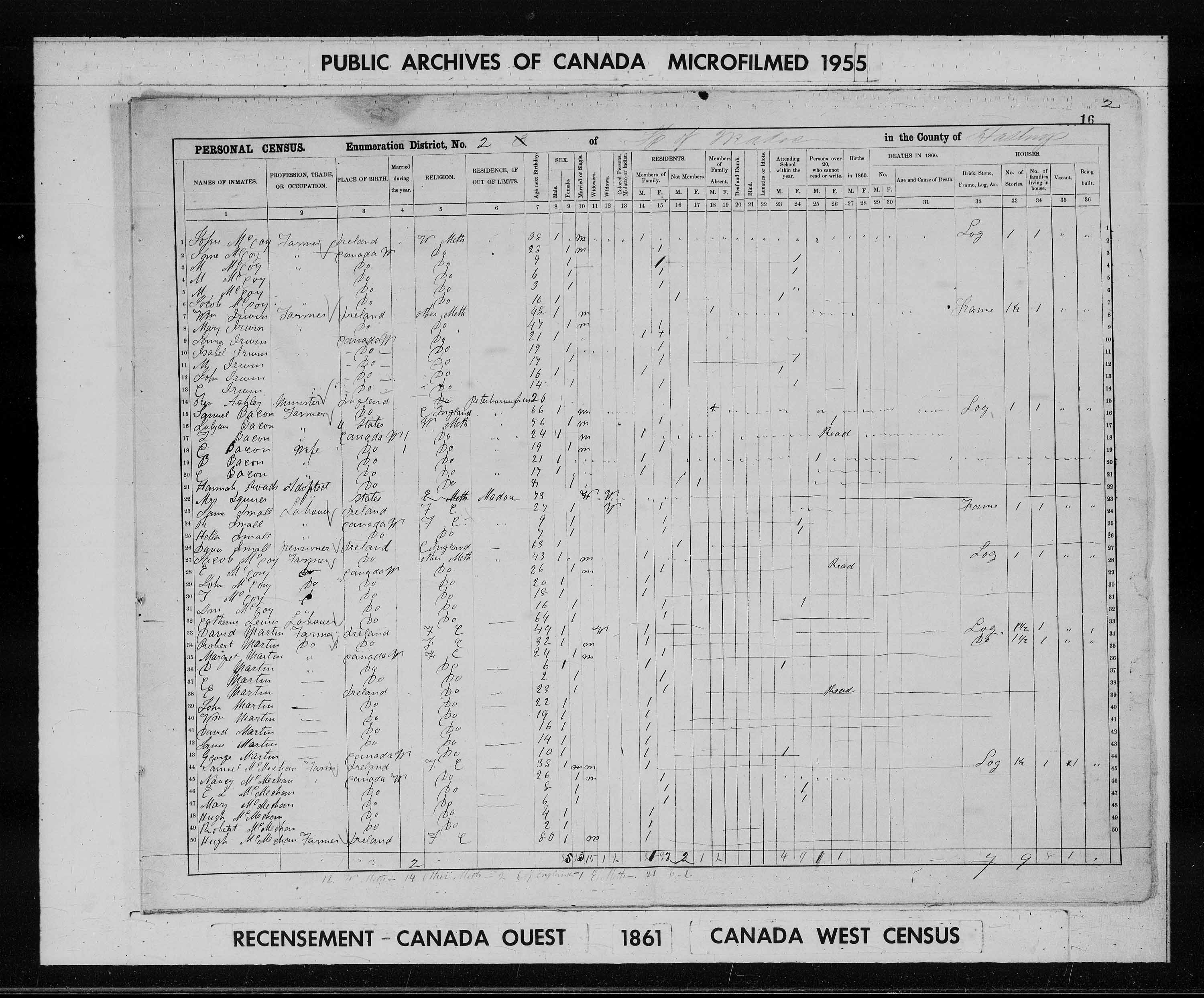 Digitized page of Census of 1861 (Canada East, Canada West, Prince Edward Island, New Brunswick and Nova Scotia), Page number 16, for Wm Martin