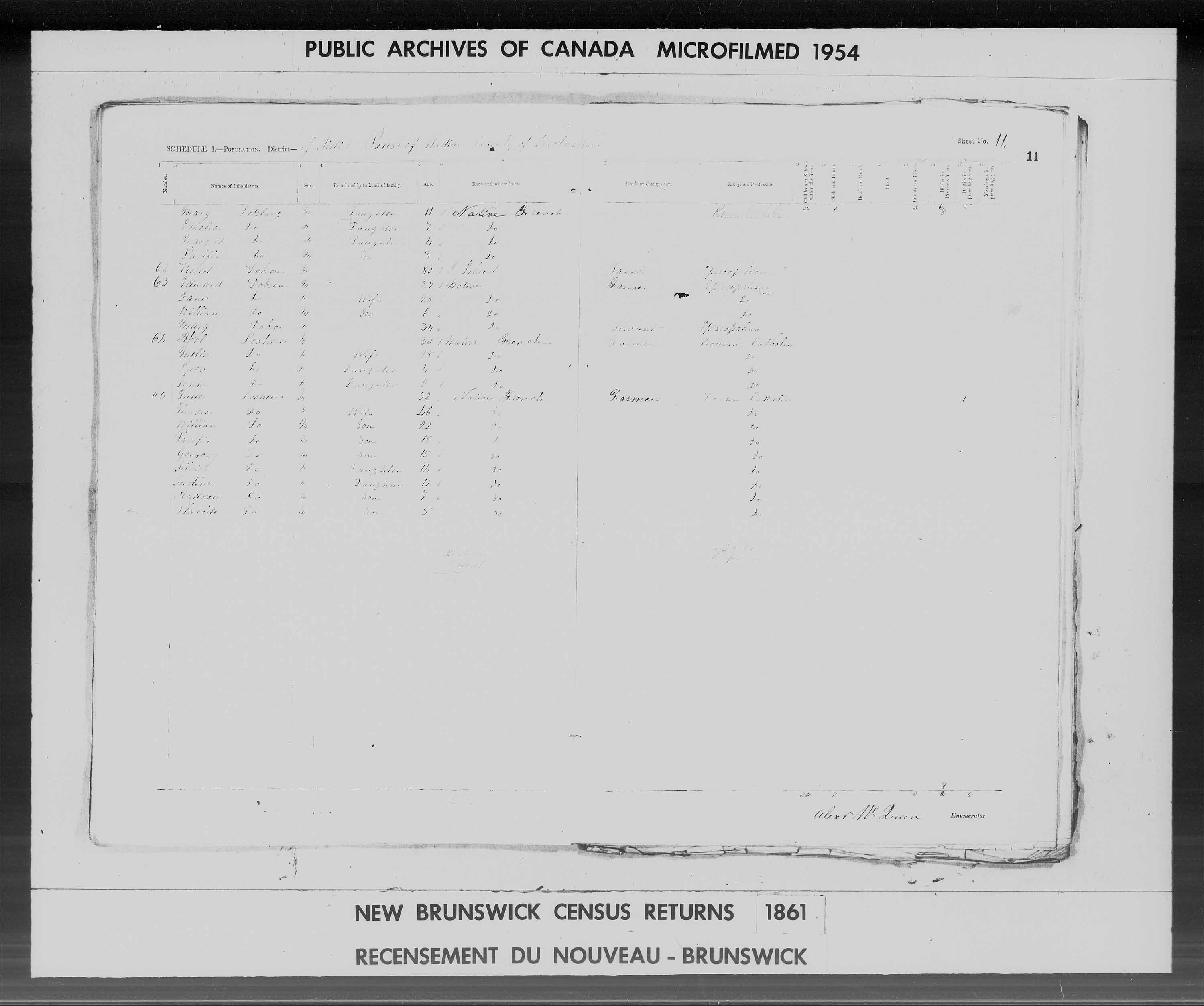 Digitized page of Census of 1861 (Canada East, Canada West, Prince Edward Island, New Brunswick and Nova Scotia), Page number 11, for Jude Leshere
