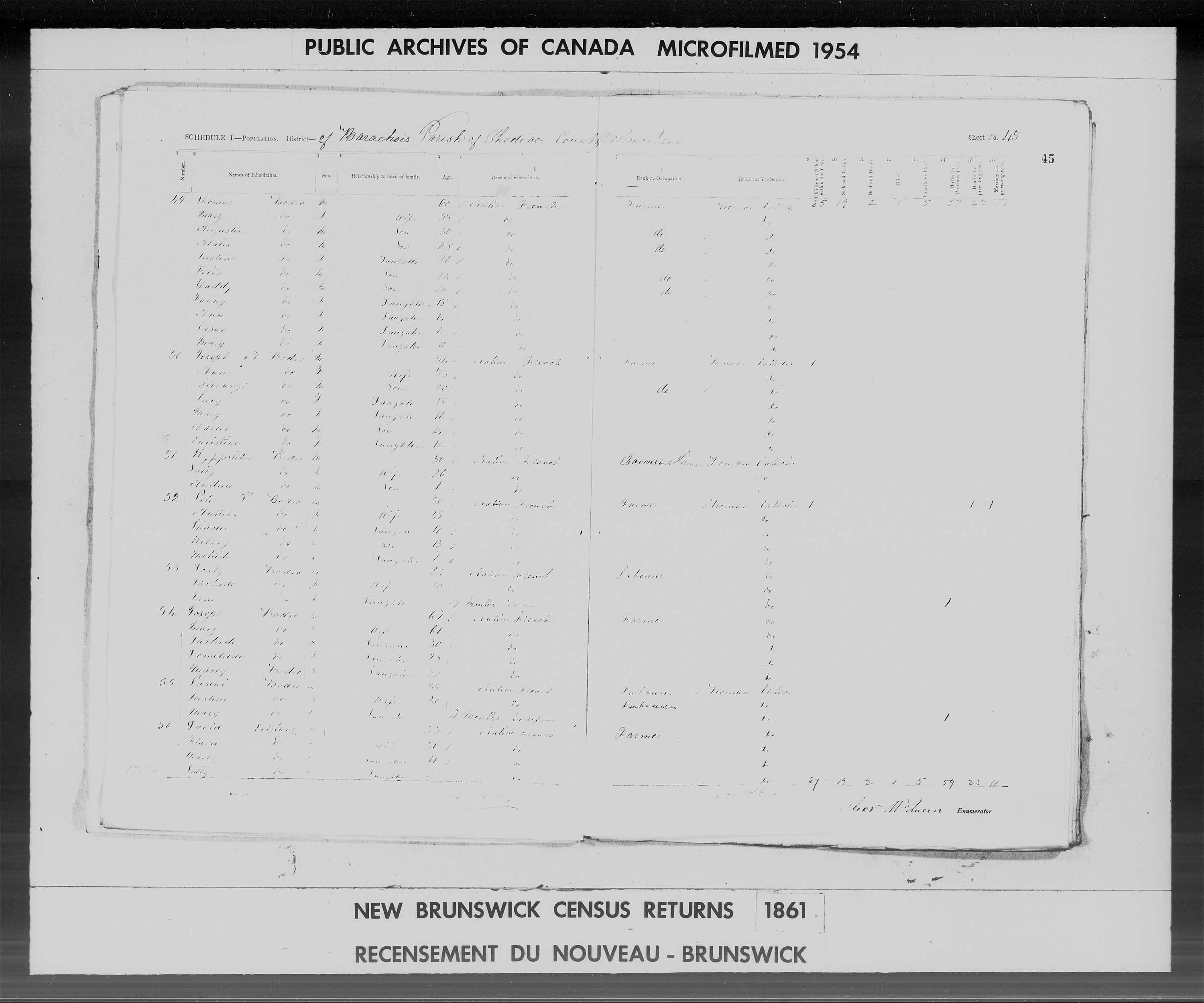Digitized page of Census of 1861 (Canada East, Canada West, Prince Edward Island, New Brunswick and Nova Scotia), Page number 45, for Hyppolitus Bodro