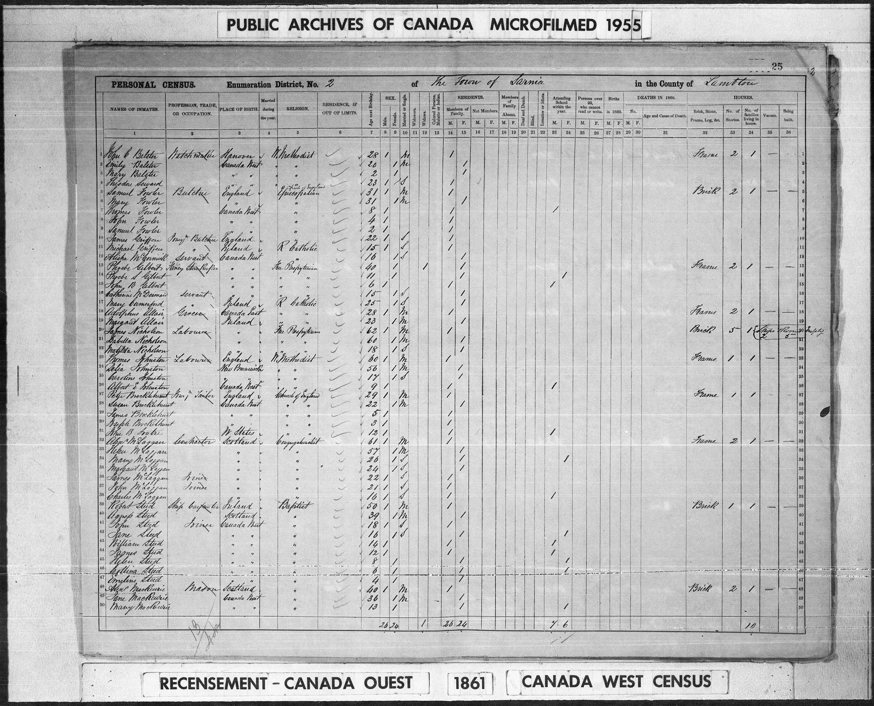 Digitized page of Census of 1861 (Canada East, Canada West, Prince Edward Island, New Brunswick and Nova Scotia), Page number 25, for Alexr Mackenzie
