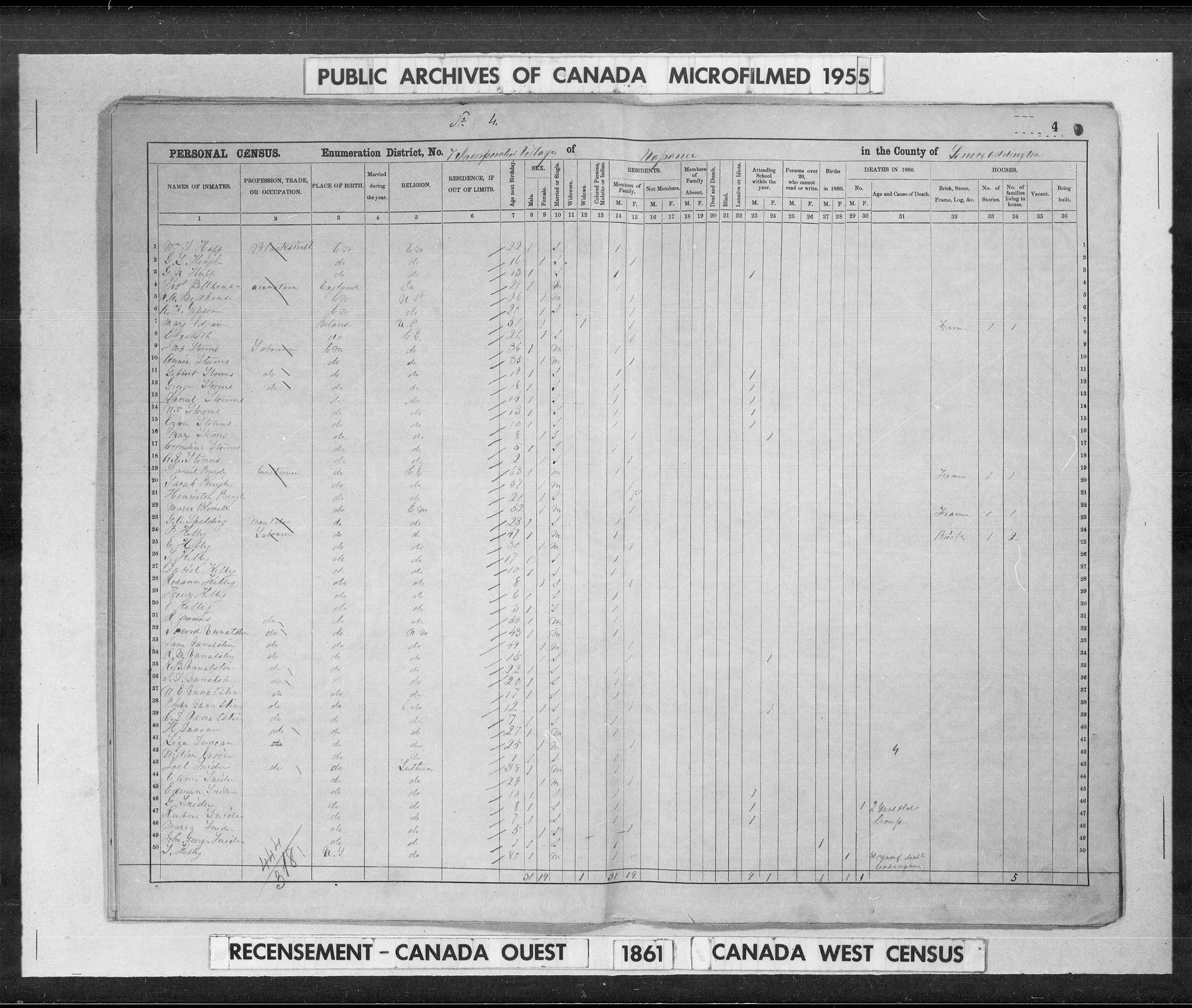 Digitized page of Census of 1861 (Canada East, Canada West, Prince Edward Island, New Brunswick and Nova Scotia), Page number 4, for Daniel Pringle
