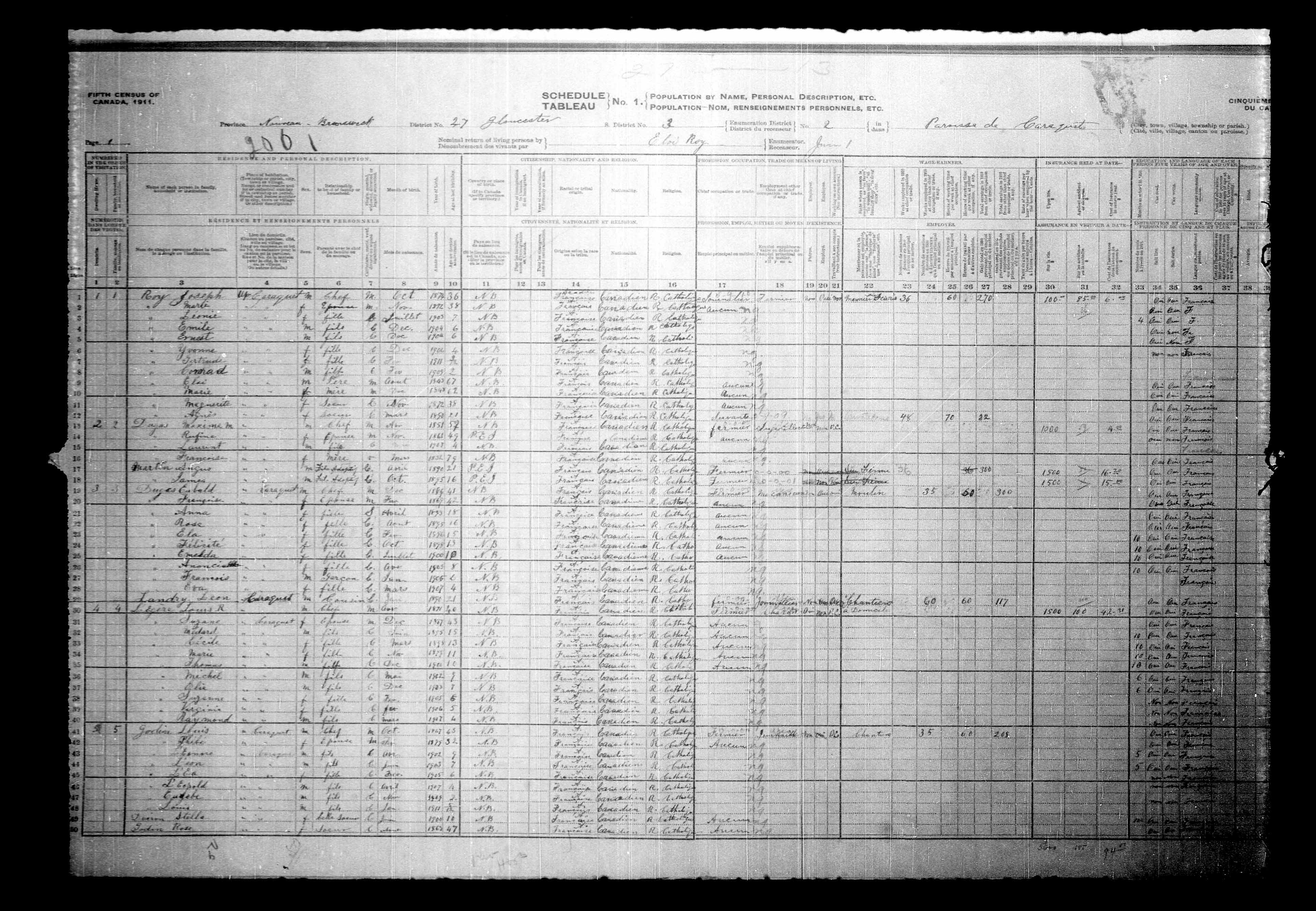 Digitized page of Census of Canada, 1911, Page number 1, for Louis R Ladgire
