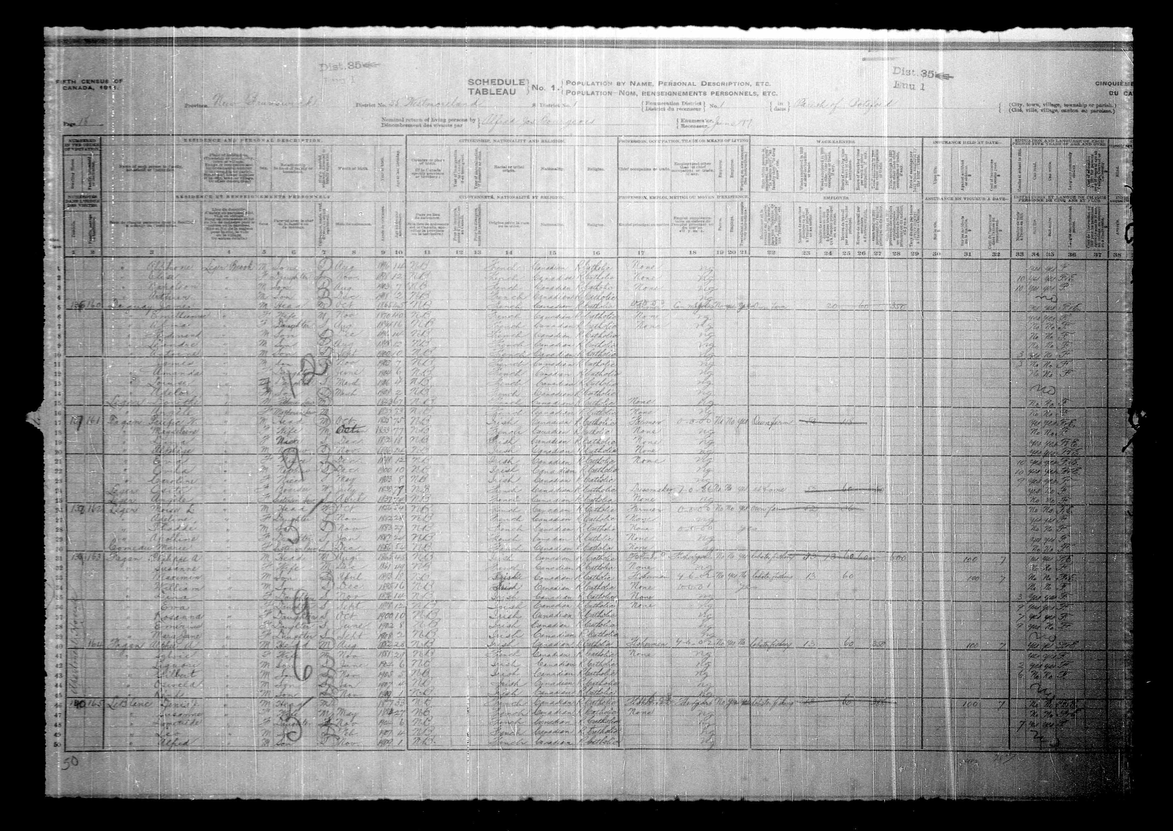 Digitized page of Census of Canada, 1911, Page number 18, for Moren L Leger