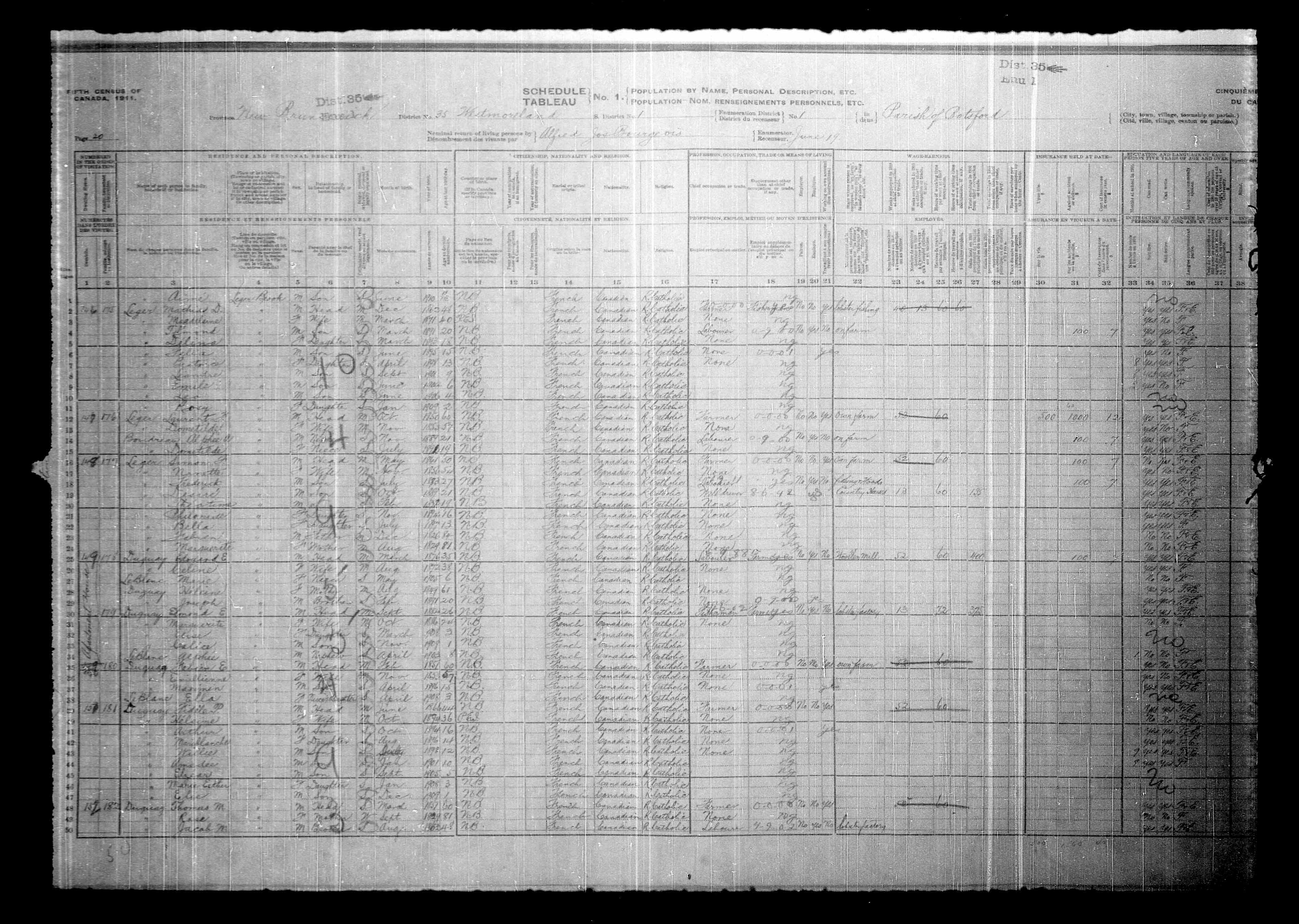 Digitized page of Census of Canada, 1911, Page number 20, for Simon F Leger