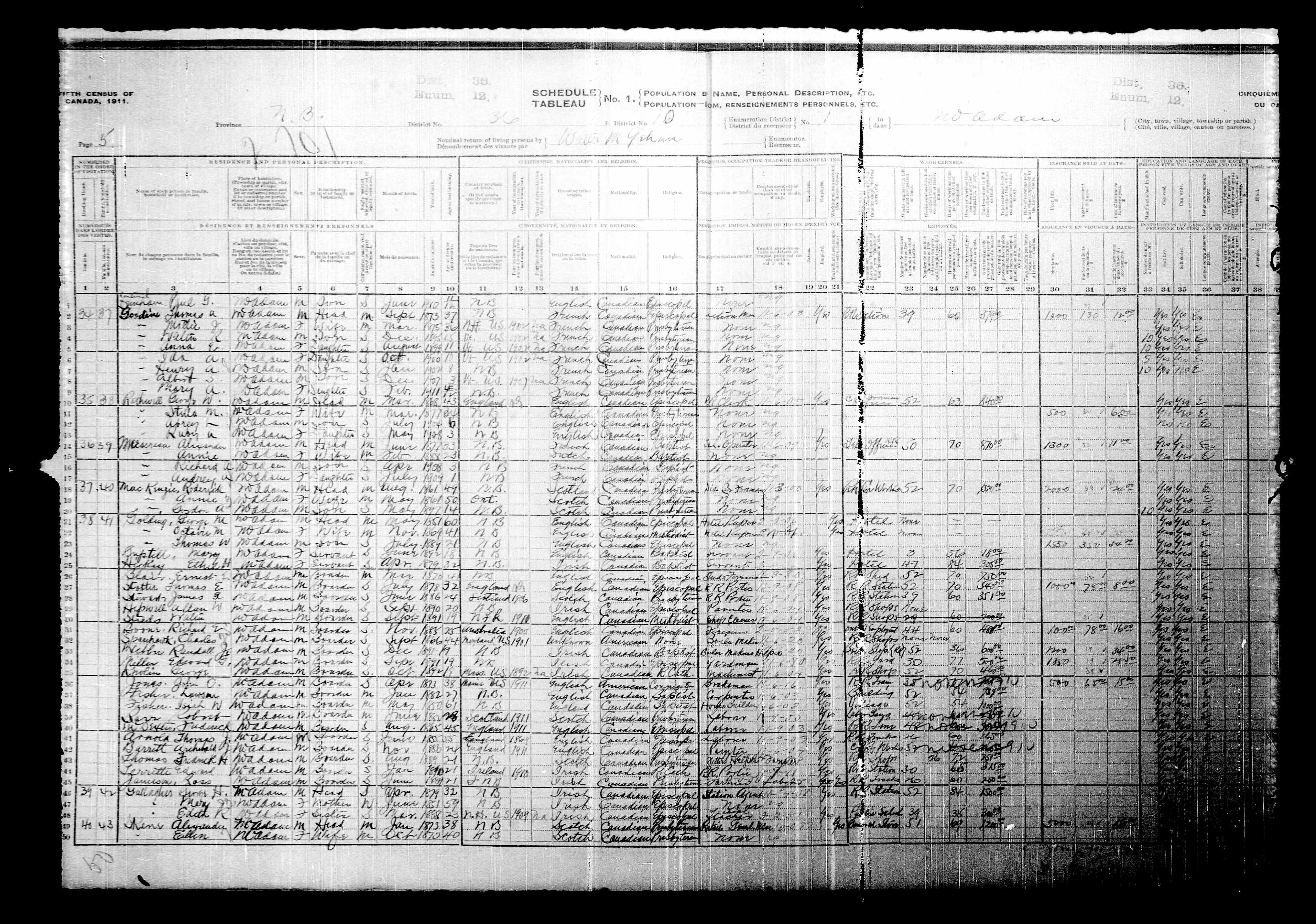 Digitized page of Census of Canada, 1911, Page number 5, for Edward Territte