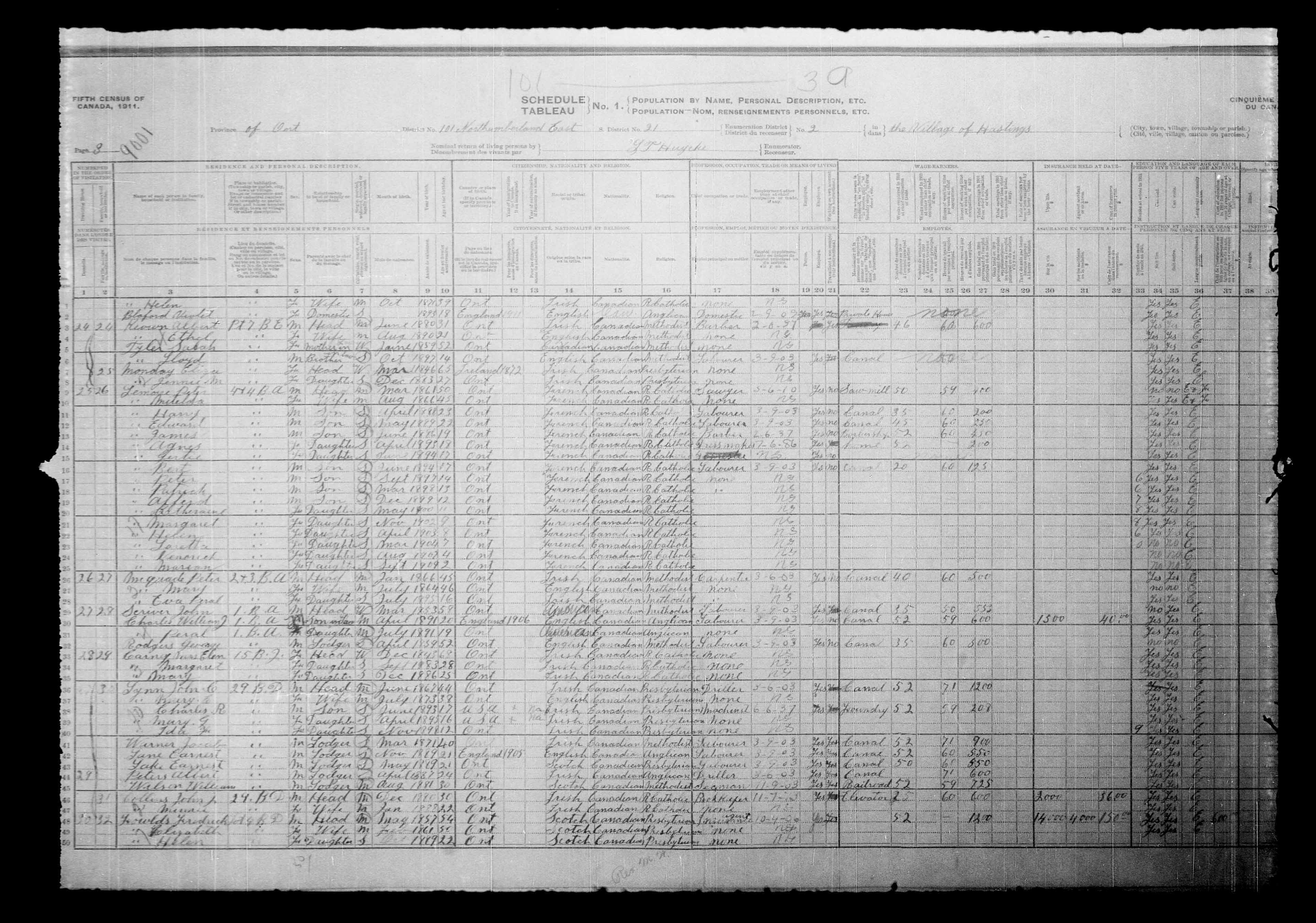 Digitized page of Census of Canada, 1911, Page number 3, for Fredrich Fowlds