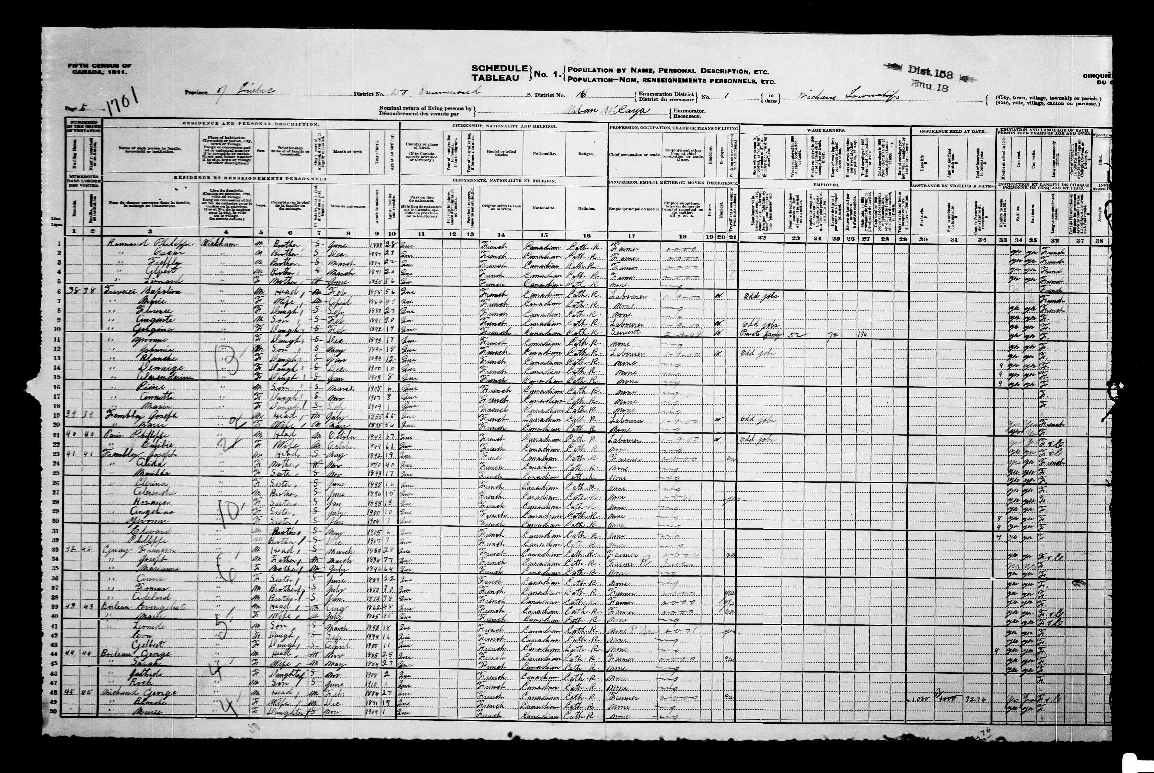 Page numérisée du Recensement du Canada (1911) pour l'image numéro e002052389