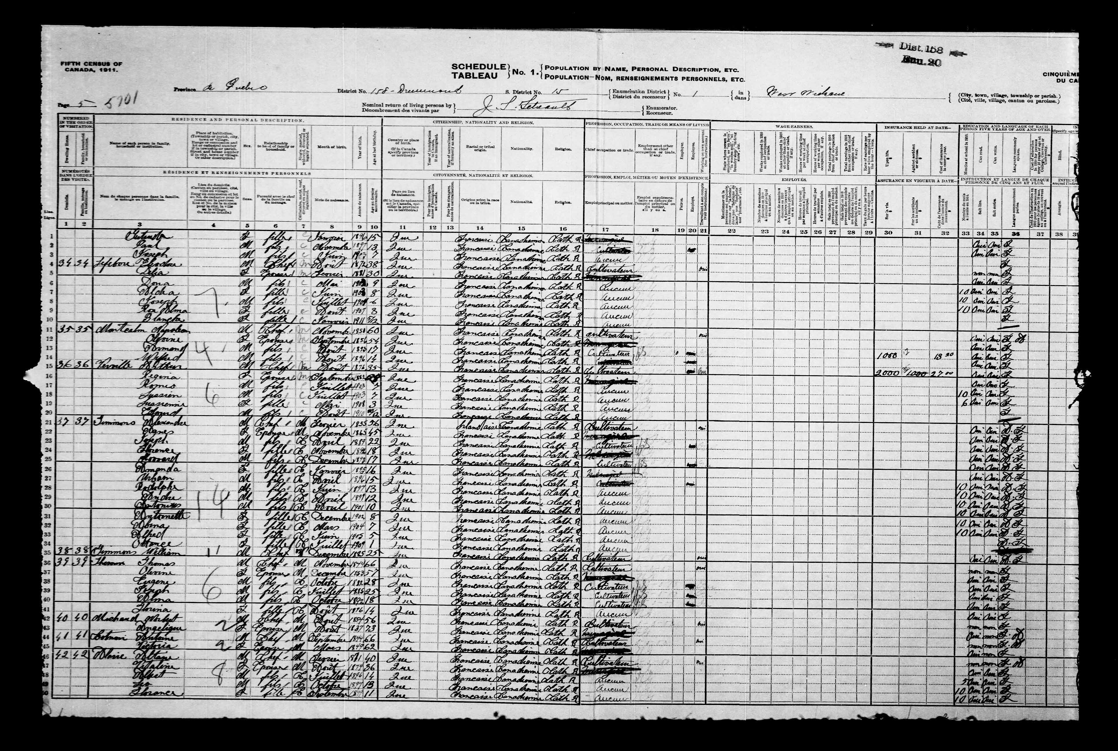 Page numérisée du Recensement du Canada (1911) pour l'image numéro e002052417