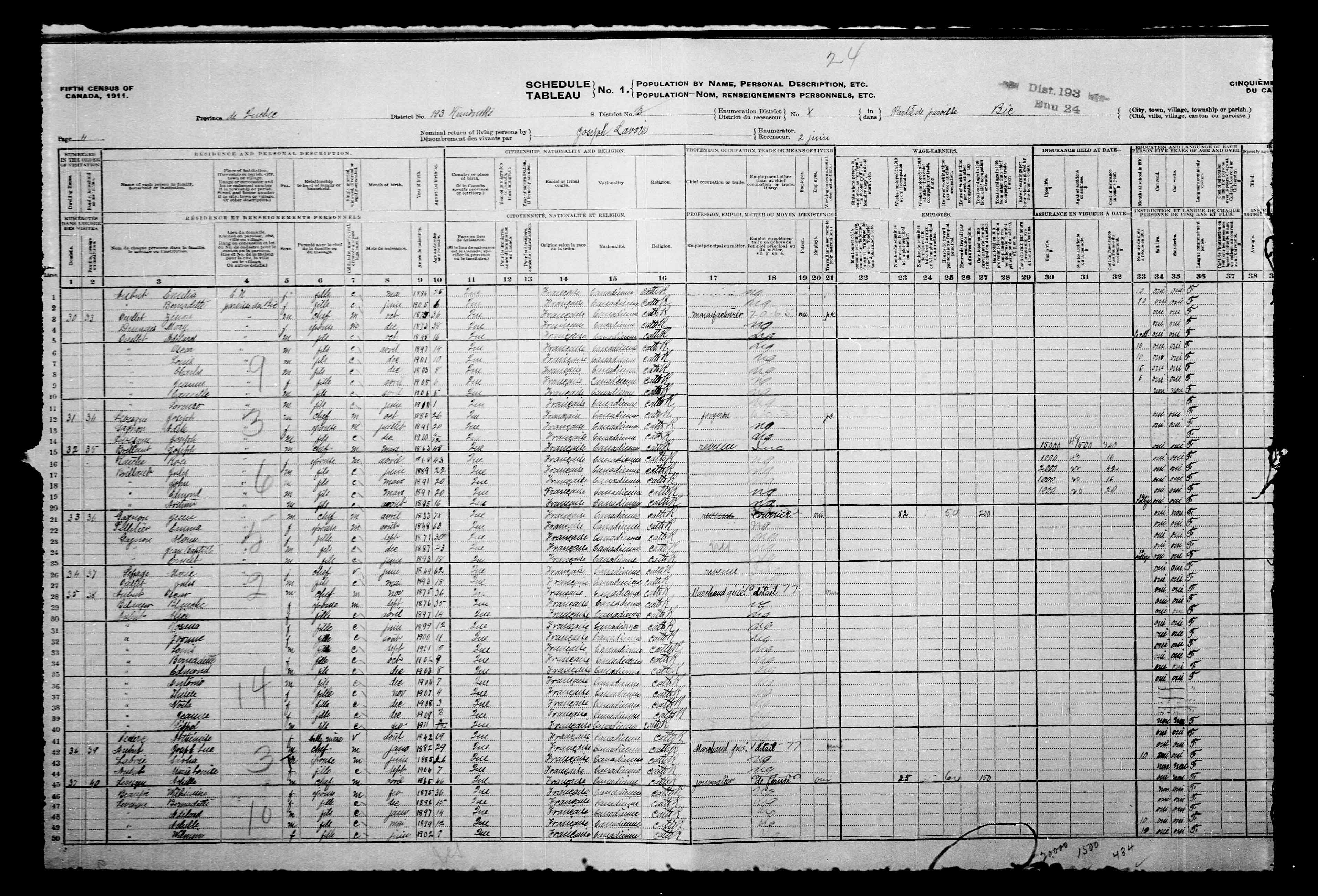 Digitized page of Census of Canada, 1911, Page number 4, for John Brillant