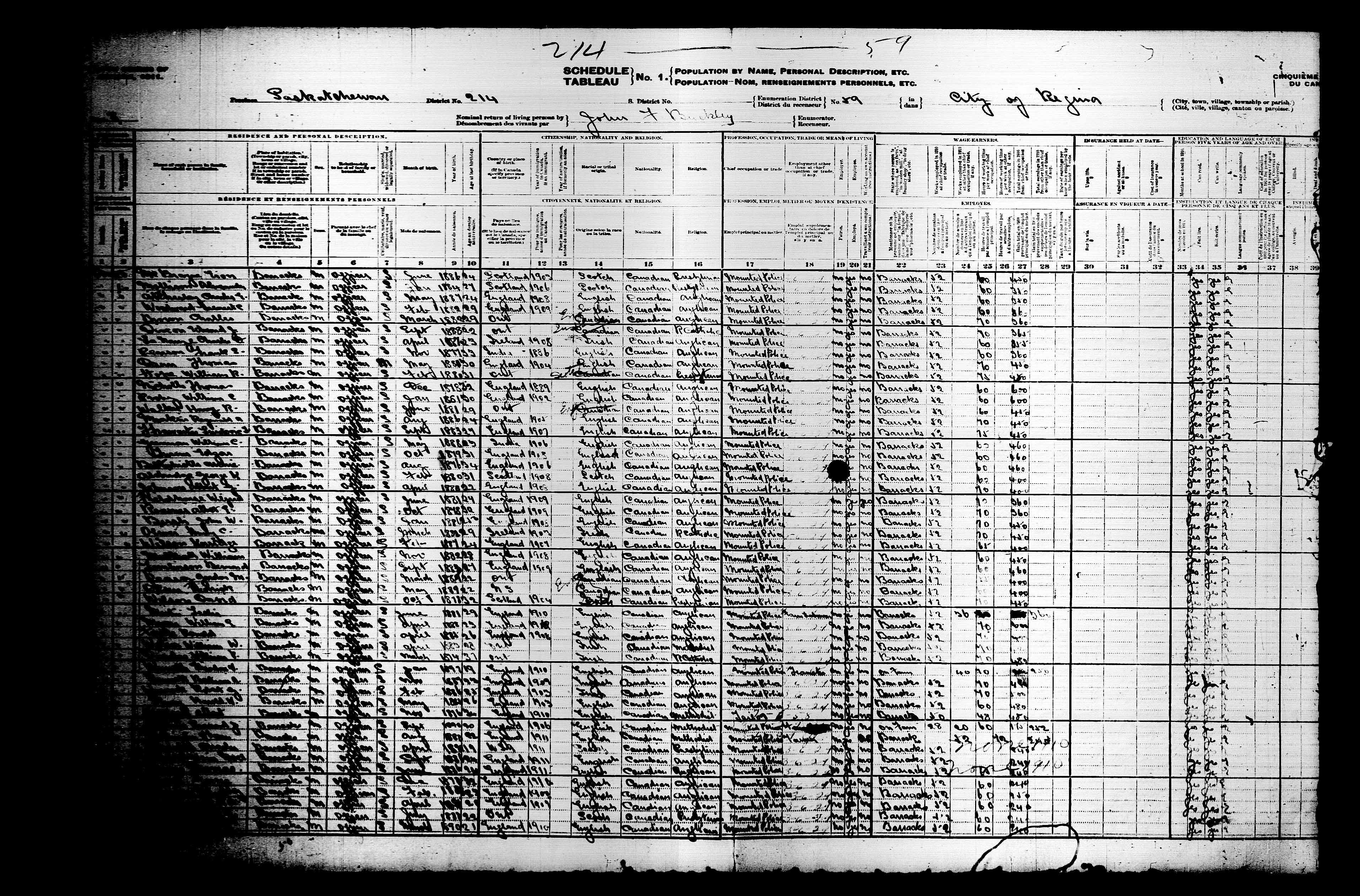 Digitized page of Census of Canada, 1911, Page number 8, for Charles T Atcharley