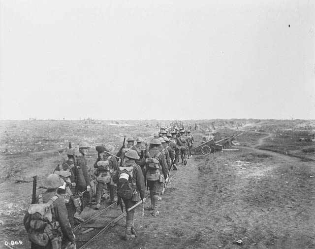 Soldiers marching towards the horizon