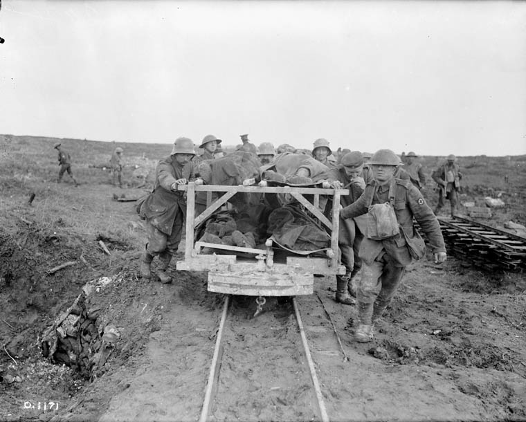 archived vimy ridge oral histories of the first world war photograph of canadians bringing wounded comrades to the field dressing station on a light track cart