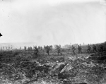 Photograph of soldiers advancing over No Man's Land, 1917