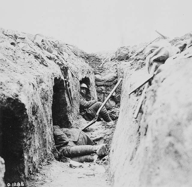 View inside a trench.