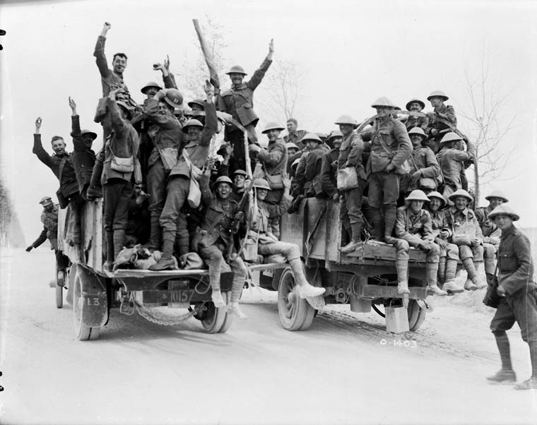 archived vimy ridge oral histories of the first world war photograph of two motor lorries bringing celebrating canadians back to their rest billets after the capture