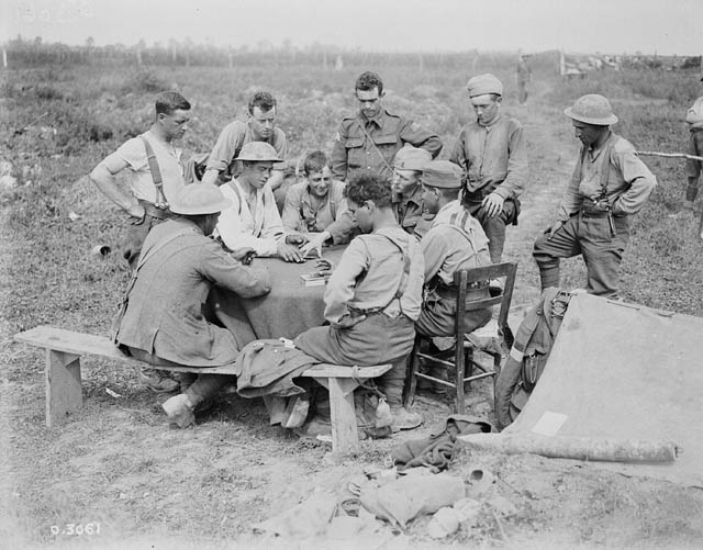 Soldiers playing cards.