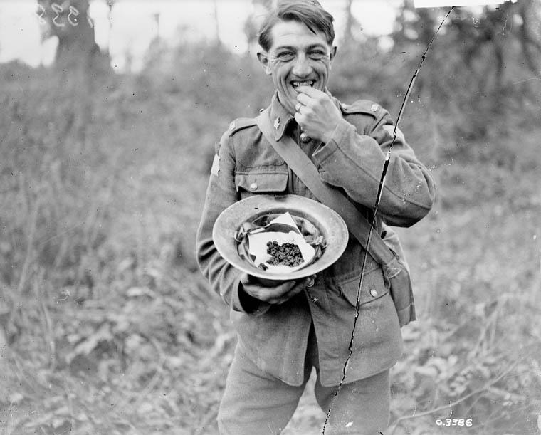 Photo - Un soldat canadien se régale de mûres