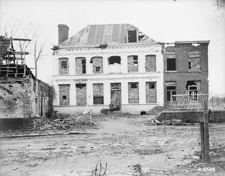 House destroyed by bombs.
