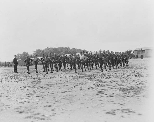 Soldiers exercising.