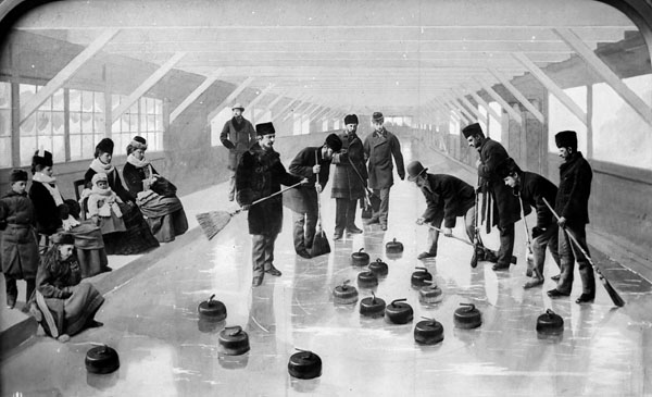 Lord Dufferin and party curling at Rideau Hall