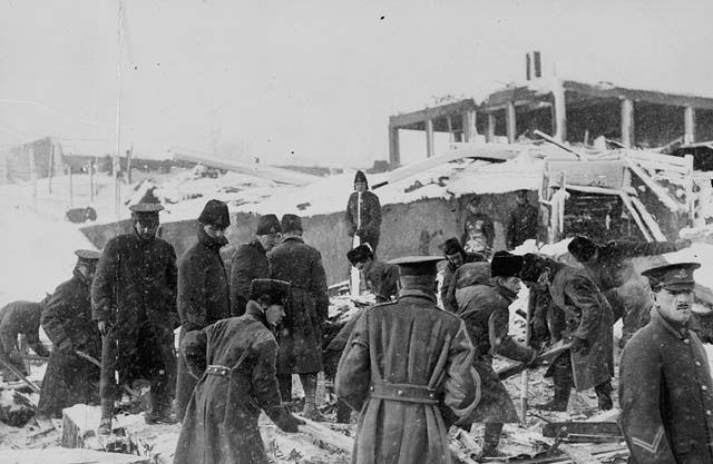 Photograph Of Soldiers Digging Through Ruins For Victims The Explosion Halifax 1917