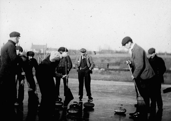 Photograph of a group of curlers, 1900-1910