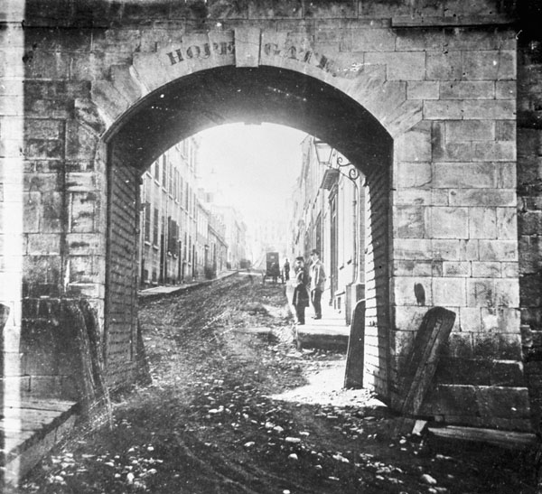 19th-century photograph of the HOPE GATE entrance into the city of Québec, no date