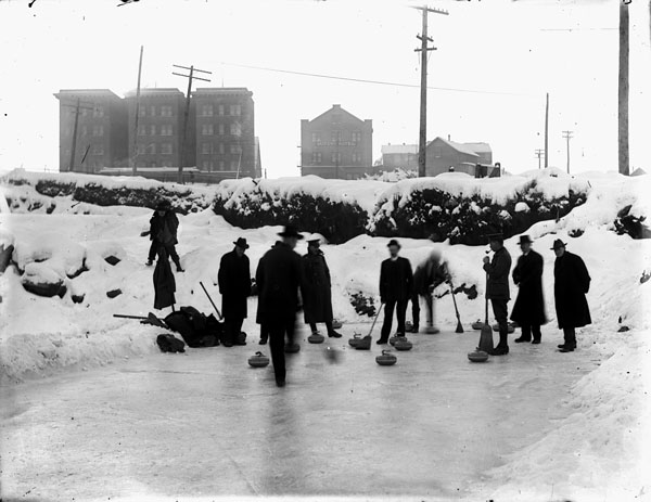 Photograph of men curling on a pond, Prince Rupert, British Columbia, 1915