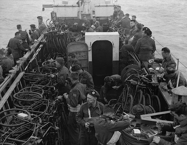 Infantrymen of The Highland Light Infantry of Canada aboard LCI(L) 306 of the 2nd Canadian (262nd RN) Flotilla en route to France on D-Day, 6 June 1944.