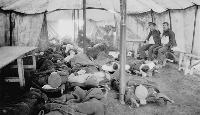 Injured soldiers waiting for treatment.