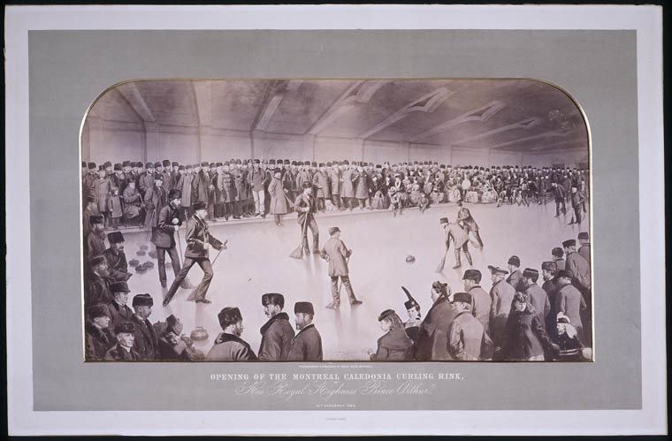 Photograph of the opening of the Montreal Caledonia Curling Rink, 1869