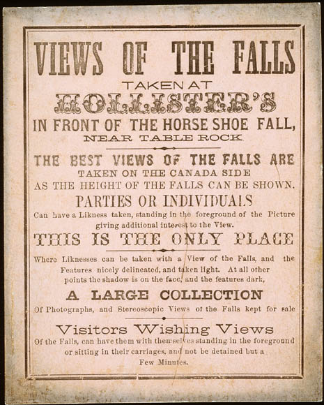 archived commercial photography essays framing a  advertisement for hollister s photographic studio niagara falls ontario 1865