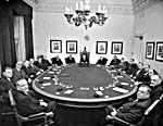 Photograph of Cabinet in session in the Privy Council Chamber, April 1953