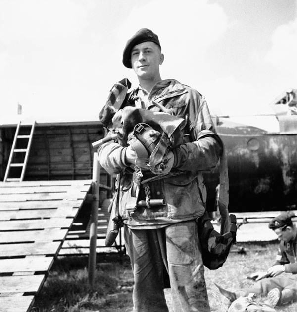 Unidentified paratrooper of the 1st Canadian Parachute Battalion,  England, 1944.