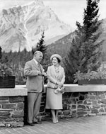 Altered photograph of Queen Elizabeth and Prime Minister W.L. Mackenzie King in Banff, 1939-1940
