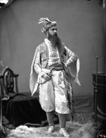 Studio photograph of Walter Chesterton dressed as Leonidas, an Athenian, Ottawa, February 1876
