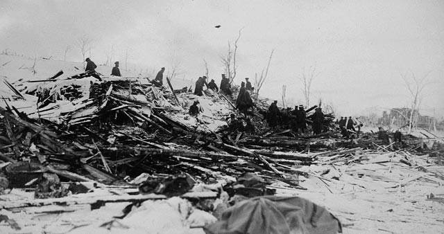Photograph Of A Huge Pile Debris From The Explosion Halifax 1917