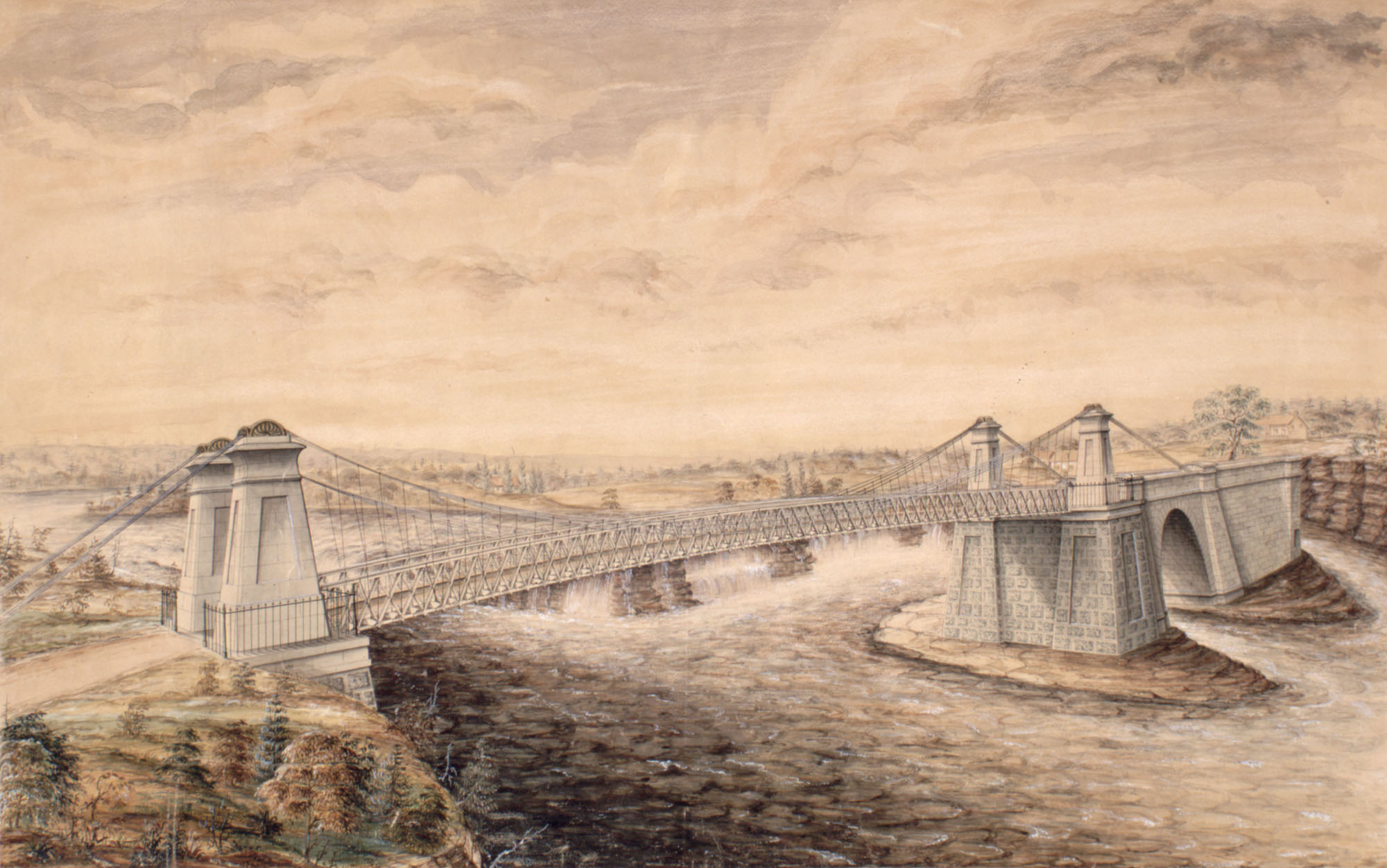 A watercolour image with pen and ink and gouache on buff wove paper laid down to linen backing. The painting shows the bridge spanning the Ottawa River where it is split into three channels.