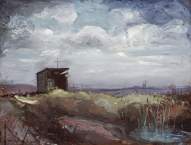 Notre Dame de Lorette, Lorette Ridge, 1919. Oil on plywood. 46.9 x 59.3 cm.