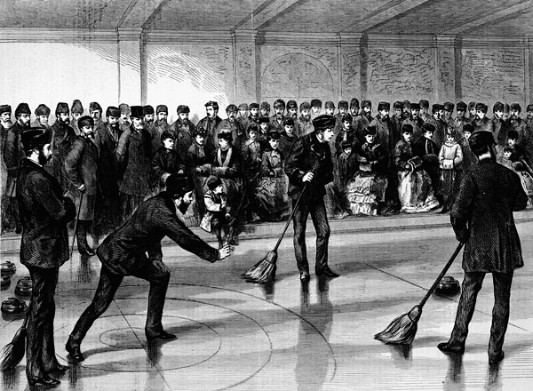 Wood engraving titled PRINCE ARTHUR OPENING THE CALEDONIA CURLING RINK AT MONTREAL, 1870