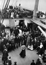 Photograph of immigrants dancing while en route to Canada, ca. 1910