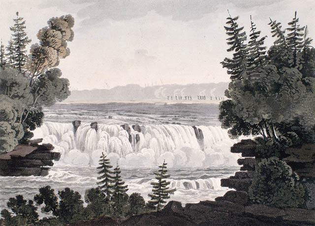 An aquatint, handcoloured with watercolour on wove paper showing a waterfall with the river beyond, all seen between two tree-covered points of land.