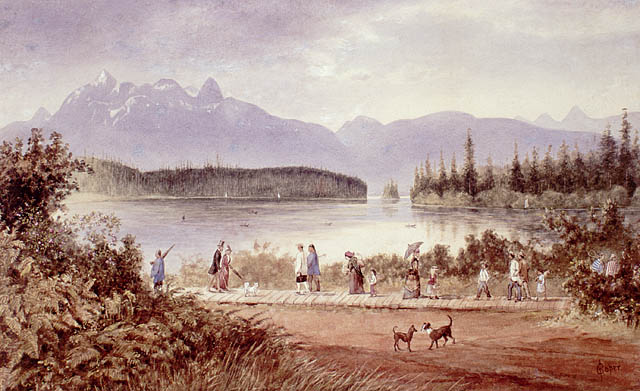 Watercolour painting of people in Victorian dress and three men in traditional Chinese clothing, walking on wooden boardwalk beside a river. Forest and mountains in background, two dogs in foreground