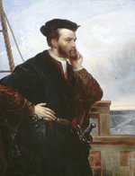 Oil painting of a well dressed man with a sword worn at his side. His left hand is held up to his bearded chin as he stares out to sea from a ship's deck.