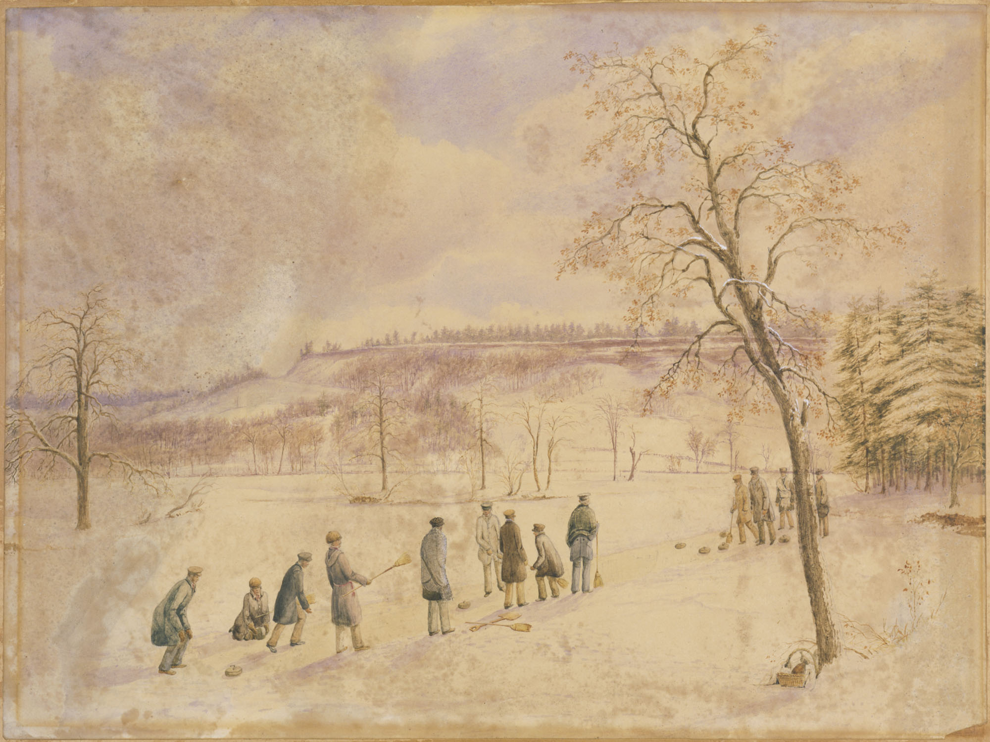 Watercolour painting titled CURLING IN HIGH PARK, TORONTO, 1836