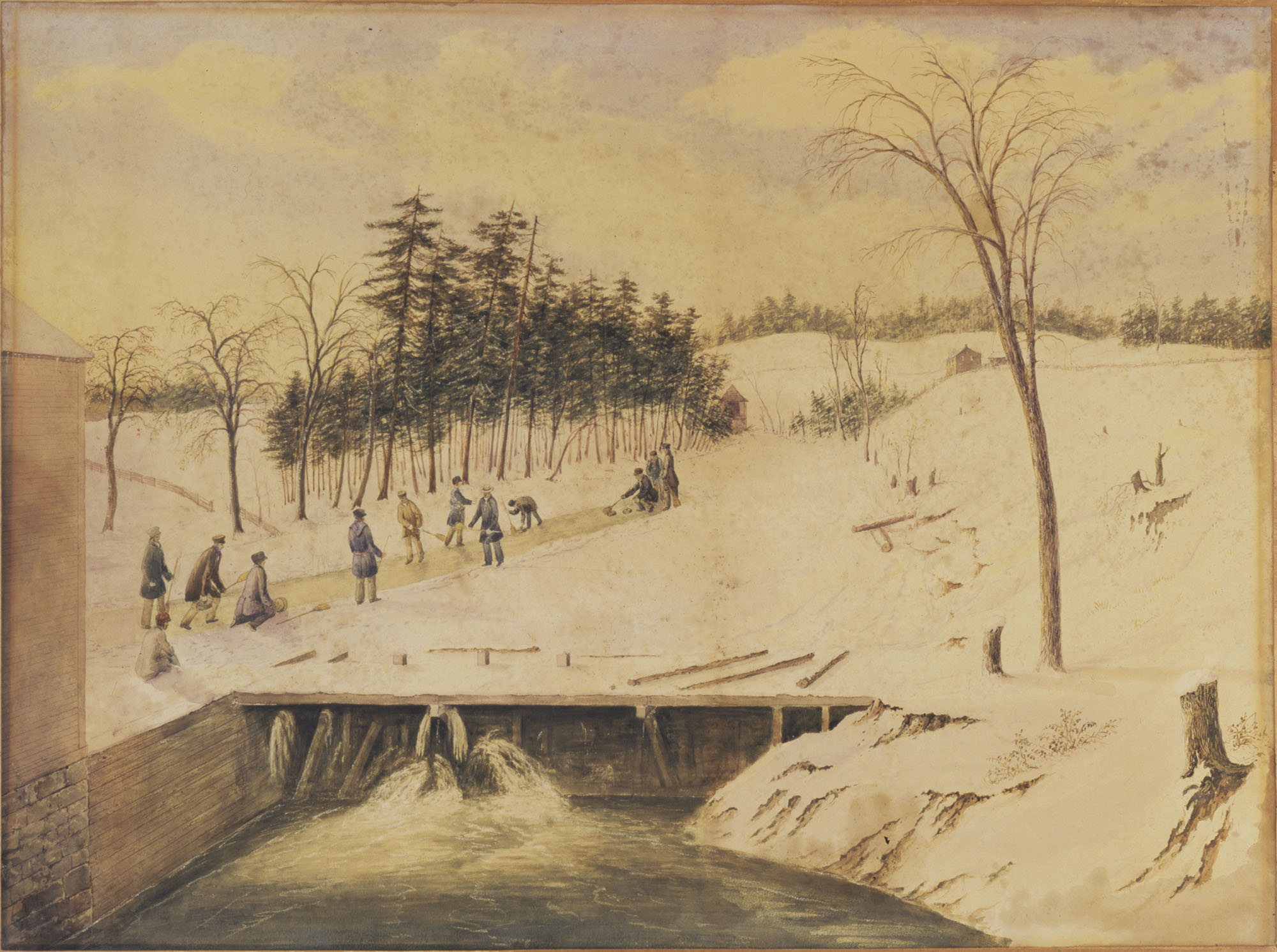 Watercolour painting titled CURLING ON THE DON RIVER, TORONTO, 1836
