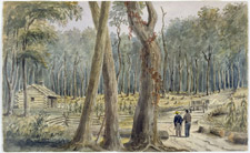 Watercolour of a farm in the bush near Chatham, Ontario, ca. 1838