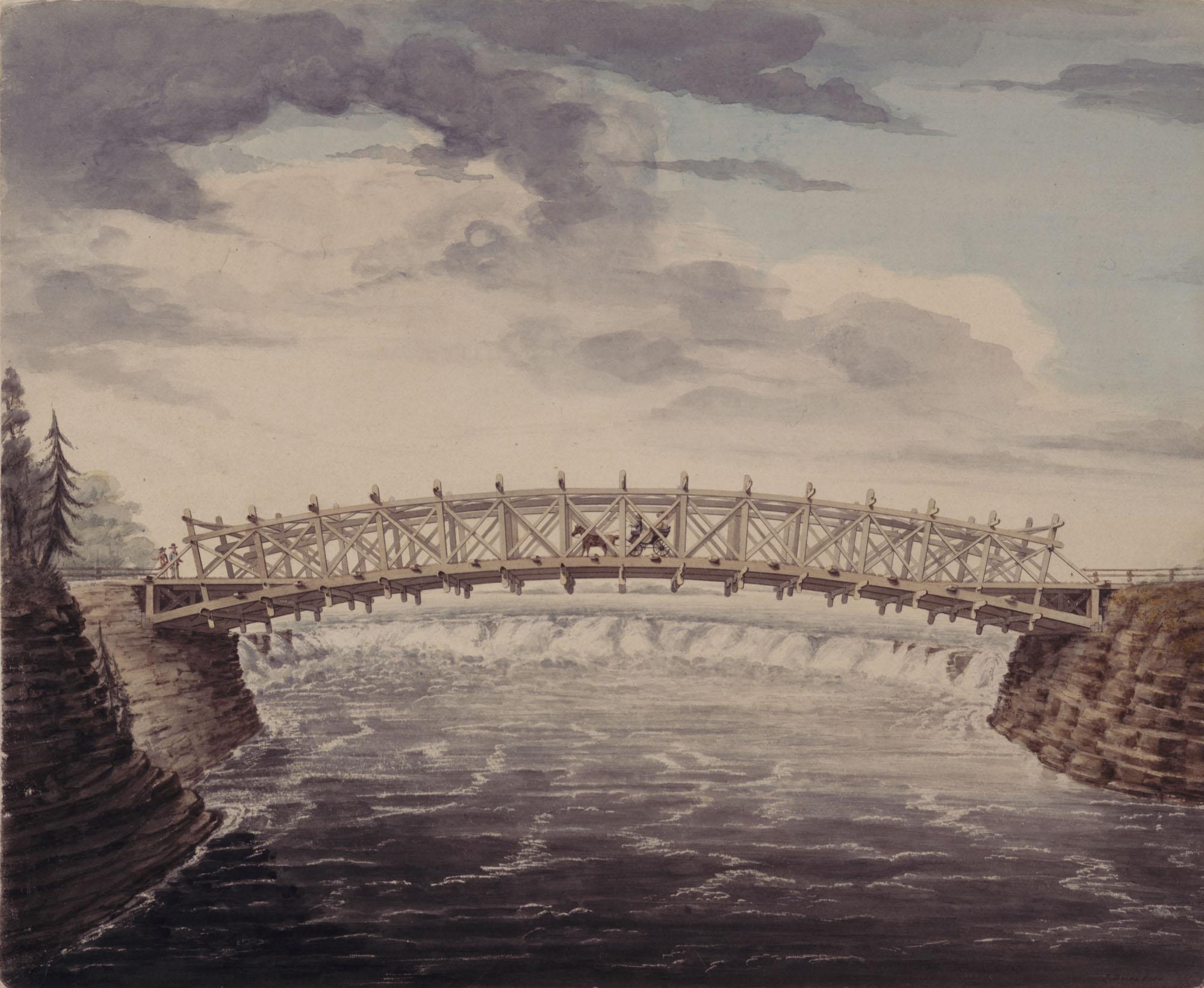 Dessin à l'aquarelle, à la plume et à l'encre sur graphite, sur papier, illustrant un pont surplombant la rivière des Outaouais. On aperçoit des chutes au loin, sous l'arc du pont.