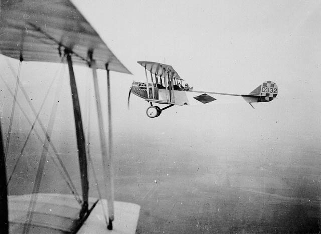 Biplane in flight.